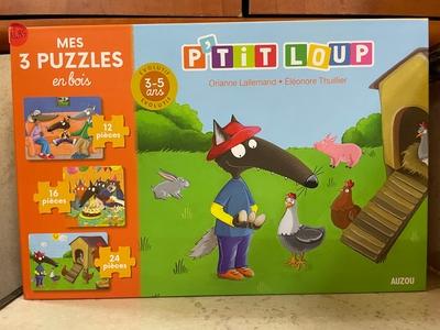 Mes 3 puzzles en bois P'tit loup