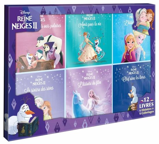LA REINE DES NEIGES 1 & 2 - Coffret 12 livres - 6 Histoires + 6 Coloriages - Disney